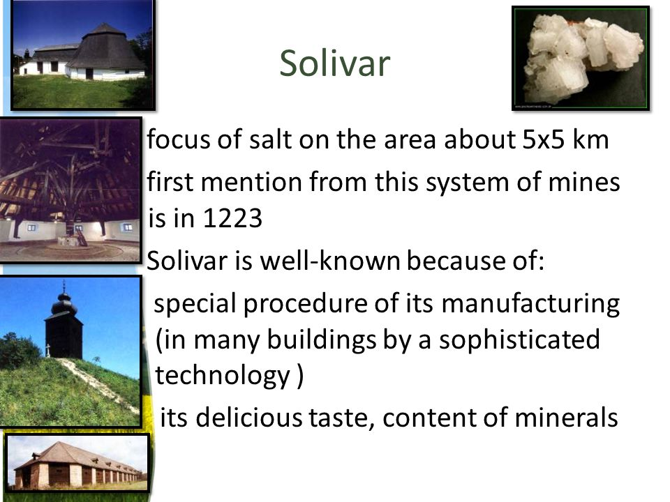 Solivar focus of salt on the area about 5x5 km