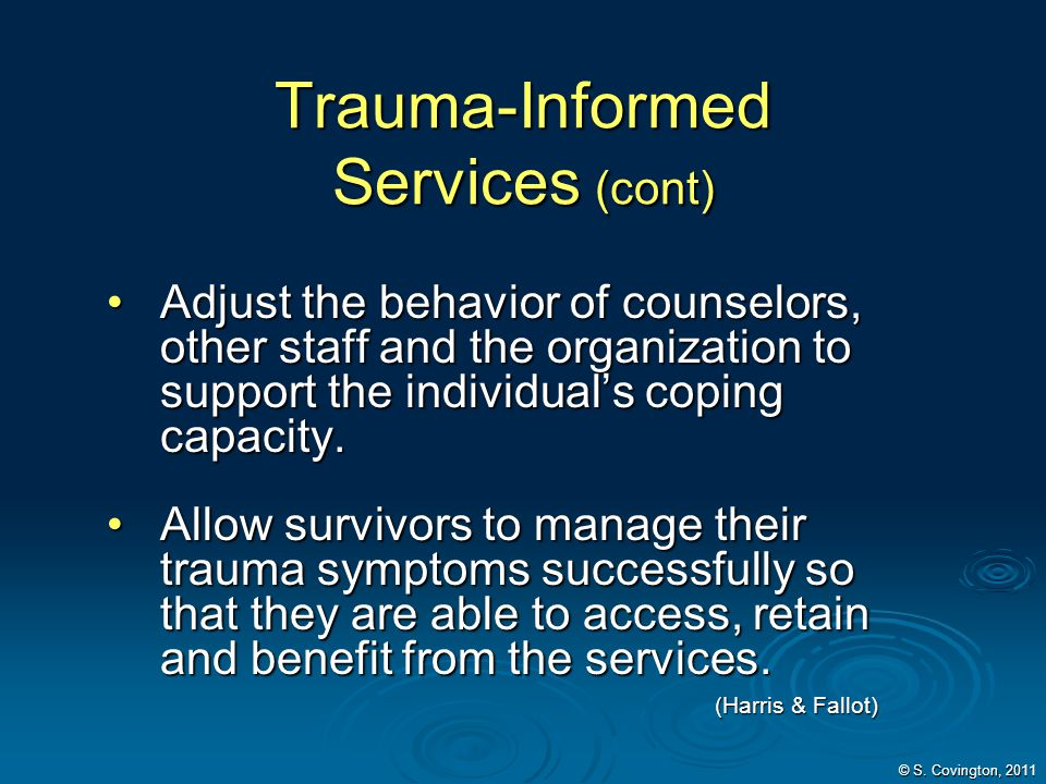 Trauma-Informed Services (cont)