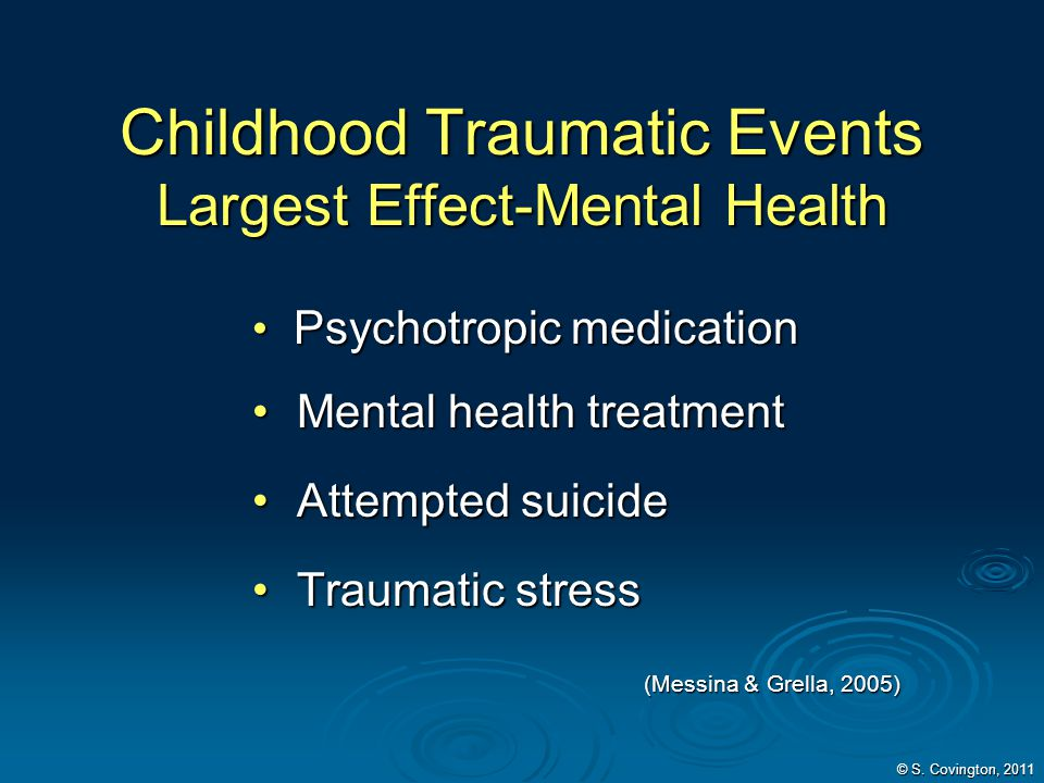 Childhood Traumatic Events Largest Effect-Mental Health