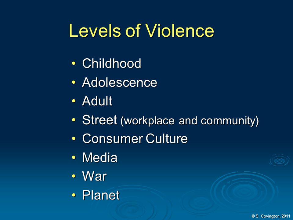Levels of Violence Childhood Adolescence Adult