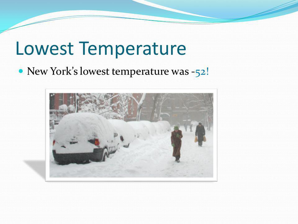 Lowest Temperature New York's lowest temperature was -52!