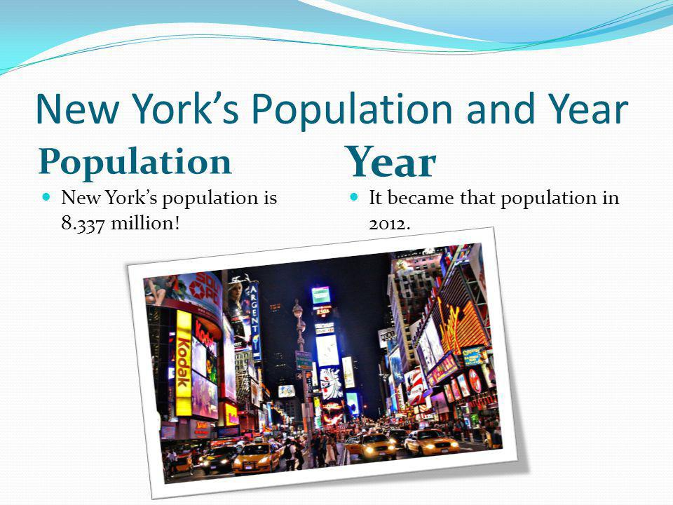 New York's Population and Year