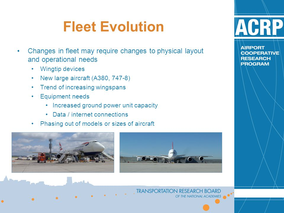 Fleet Evolution Changes in fleet may require changes to physical layout and operational needs. Wingtip devices.