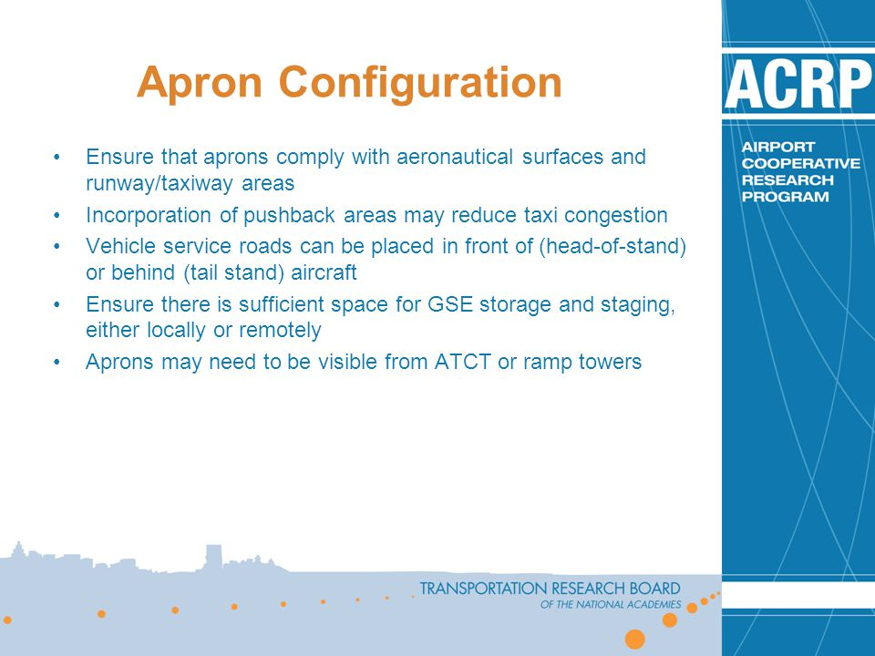 Apron Configuration Ensure that aprons comply with aeronautical surfaces and runway/taxiway areas.