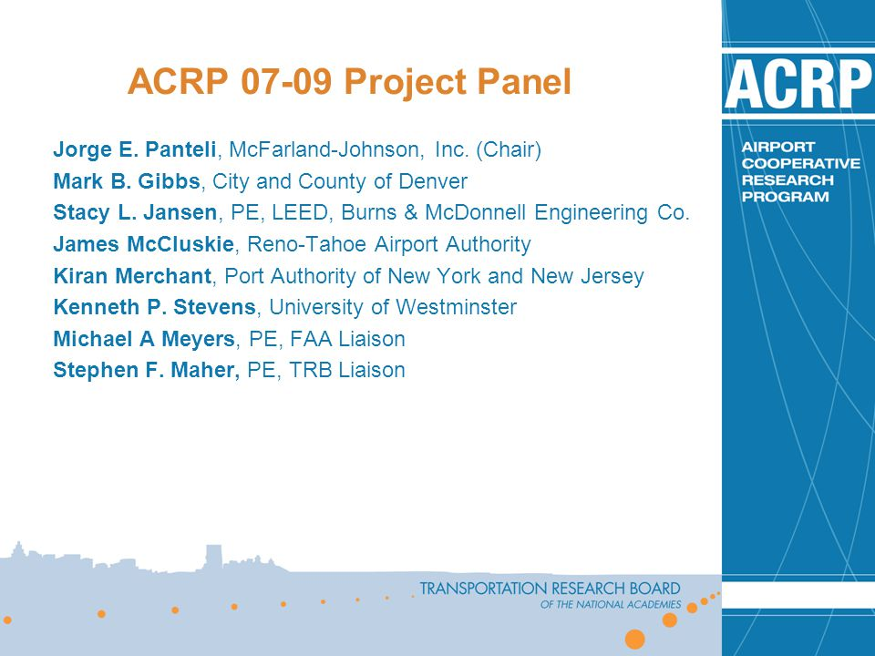 ACRP 07-09 Project Panel