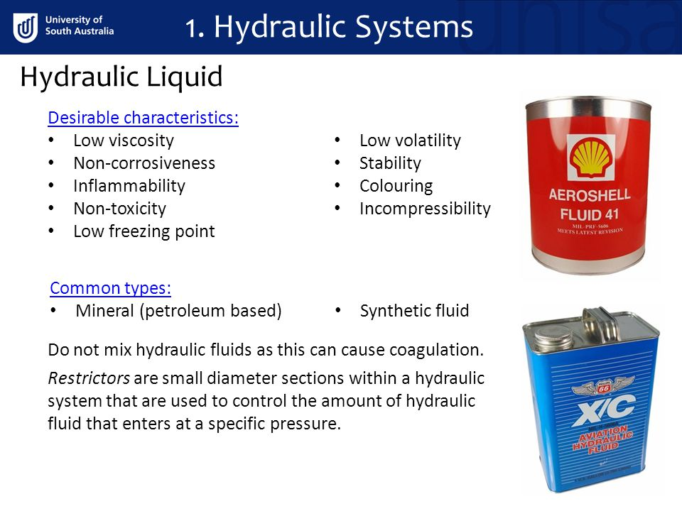 1. Hydraulic Systems Hydraulic Liquid Desirable characteristics: