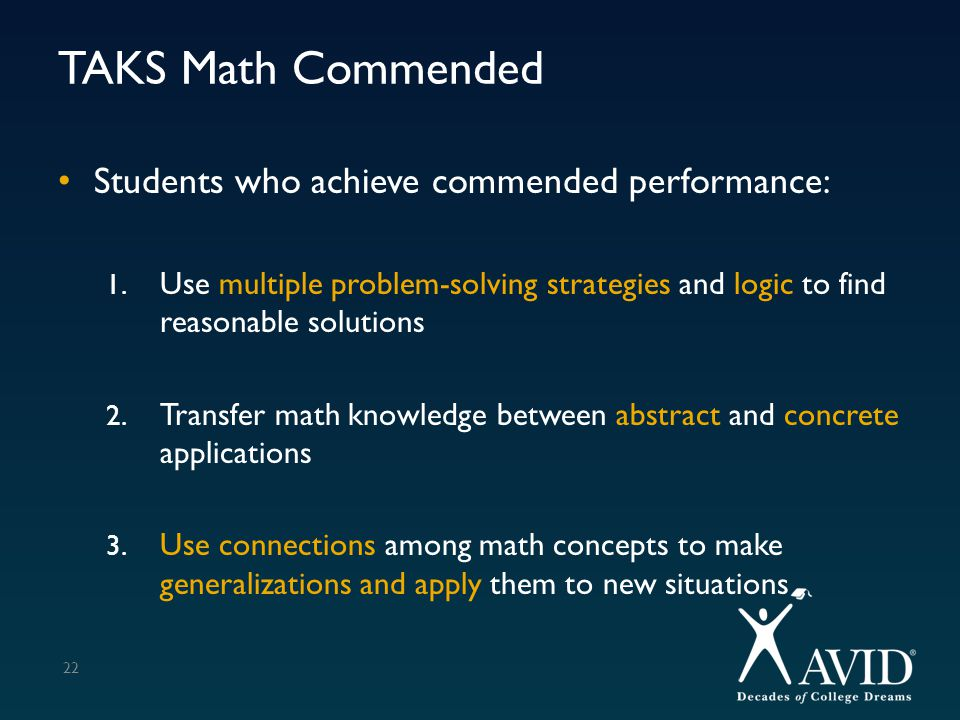 TAKS Math Commended Students who achieve commended performance: