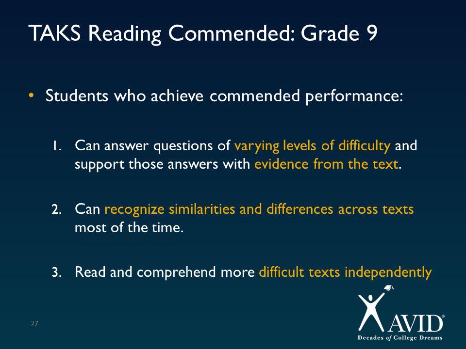 TAKS Reading Commended: Grade 9