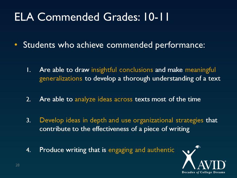 ELA Commended Grades: 10-11
