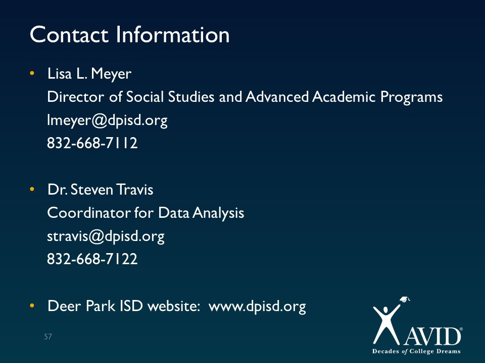 Contact Information Lisa L. Meyer. Director of Social Studies and Advanced Academic Programs. lmeyer@dpisd.org.