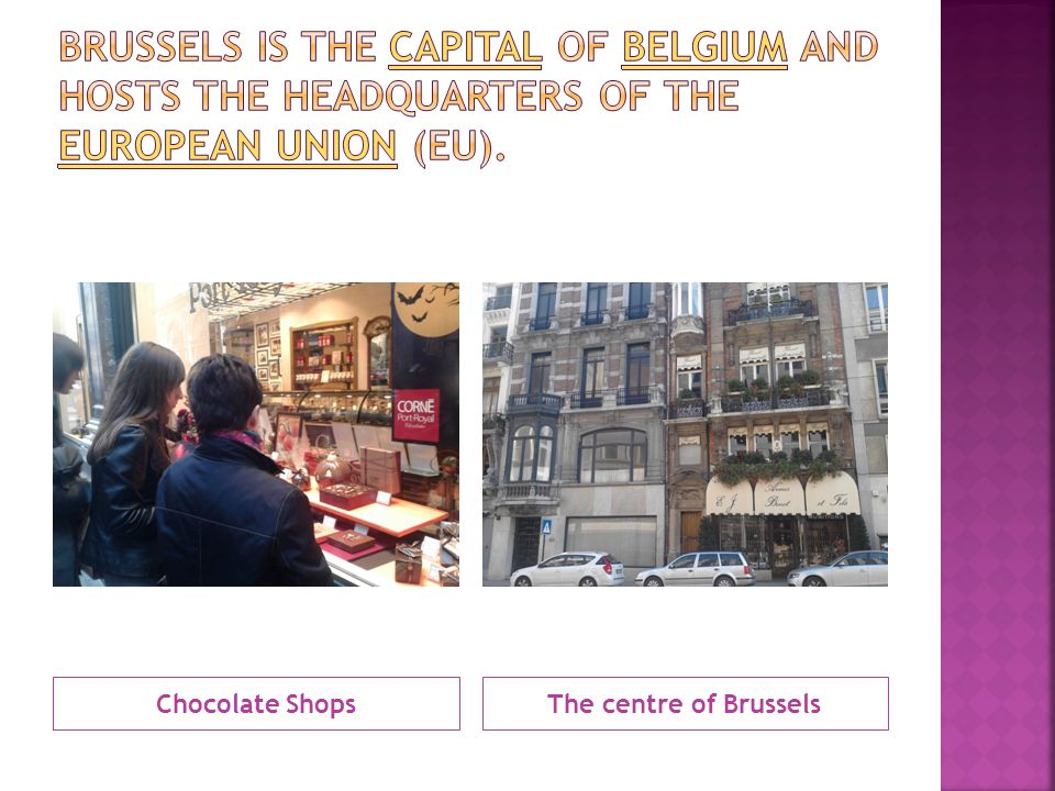 Brussels is the capital of Belgium and hosts the headquarters of the European Union (EU).