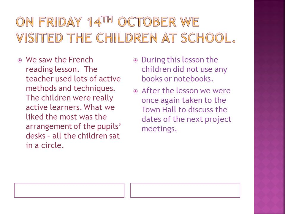 On Friday 14th October we visited the children at school.