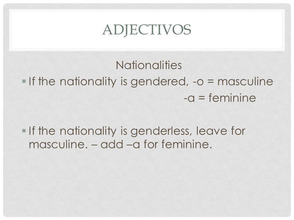 Adjectivos Nationalities