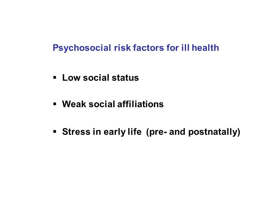 Psychosocial risk factors for ill health