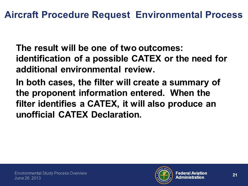 Aircraft Procedure Request Environmental Process