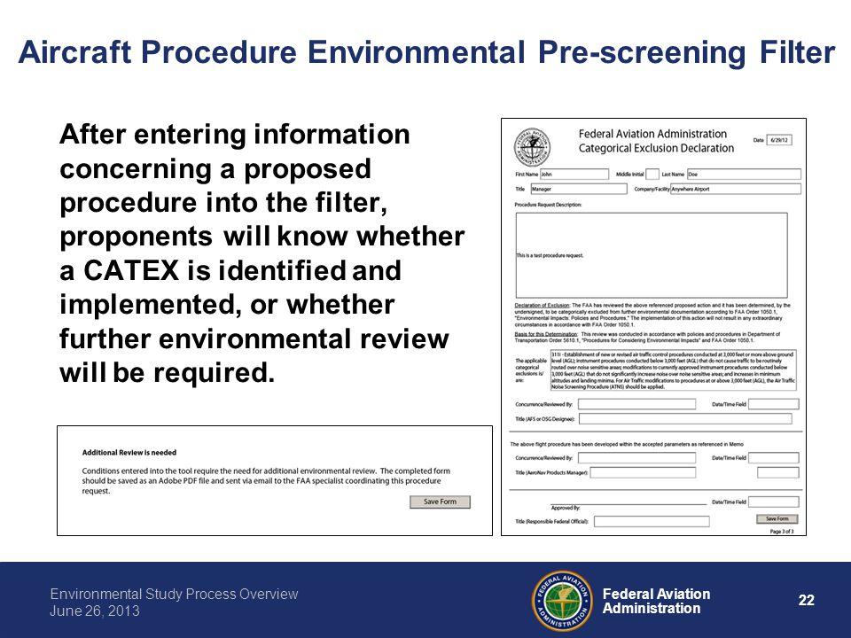 Aircraft Procedure Environmental Pre-screening Filter