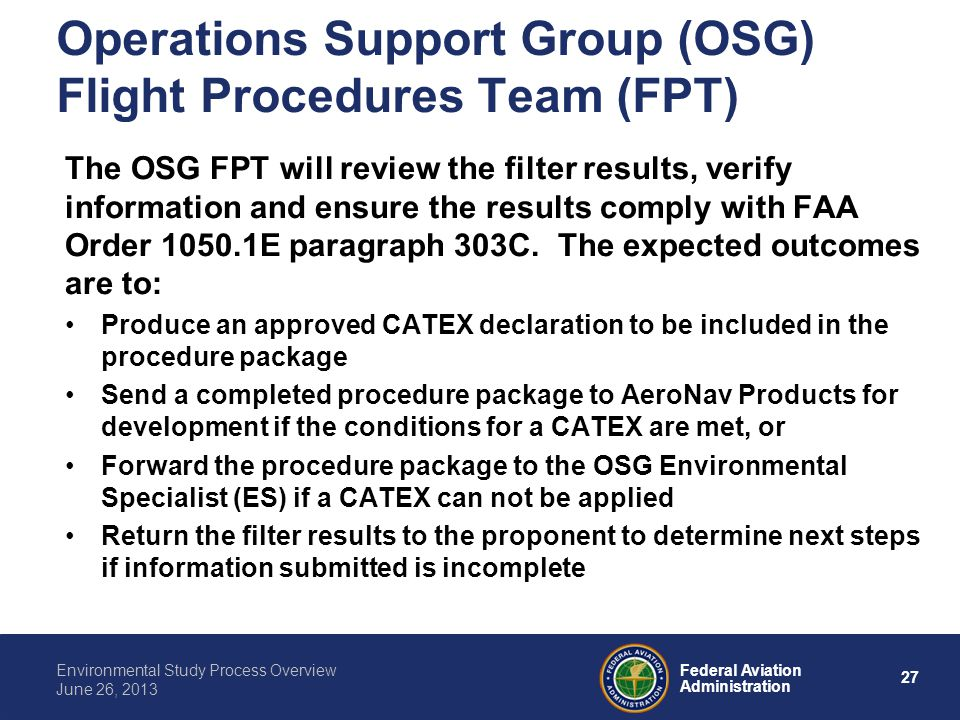 Operations Support Group (OSG) Flight Procedures Team (FPT)