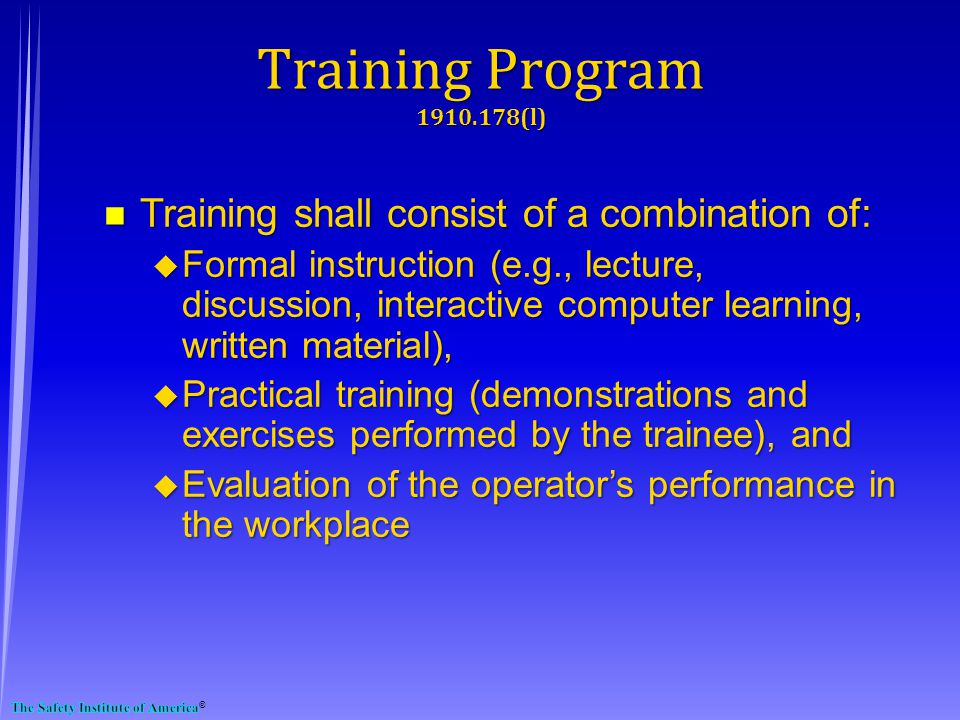 Training Program 1910.178(l)