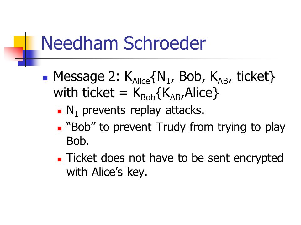 Needham Schroeder Message 2: KAlice{N1, Bob, KAB, ticket} with ticket = KBob{KAB,Alice} N1 prevents replay attacks.