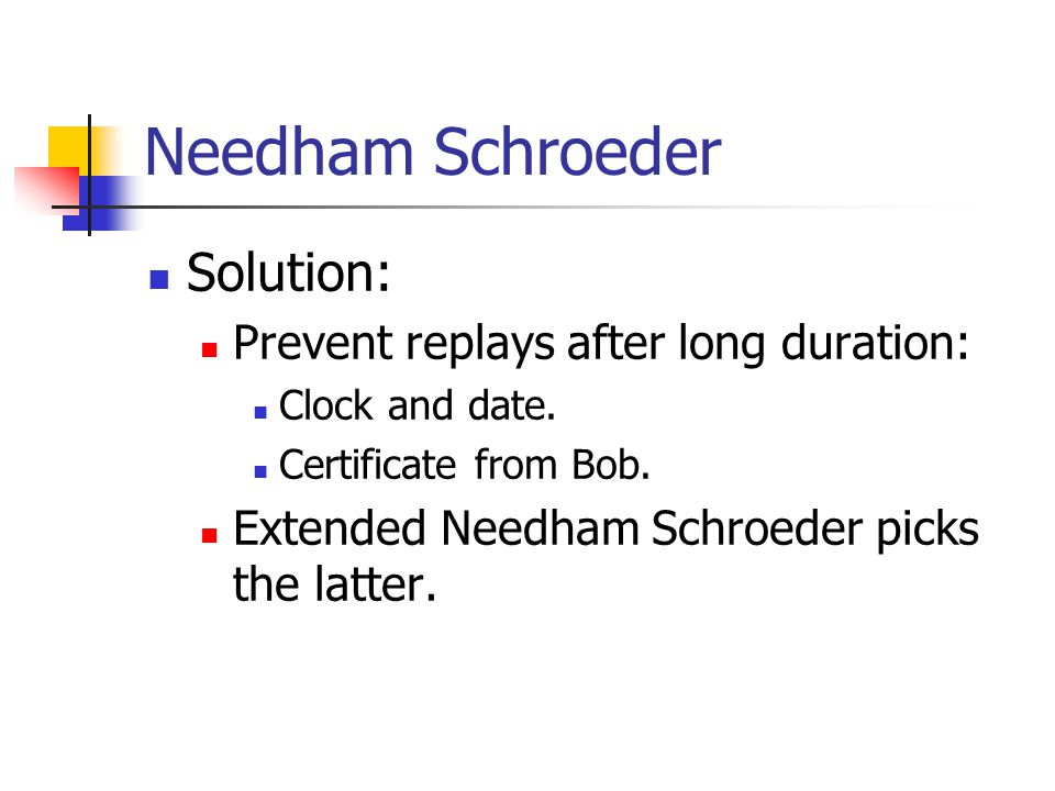 Needham Schroeder Solution: Prevent replays after long duration:
