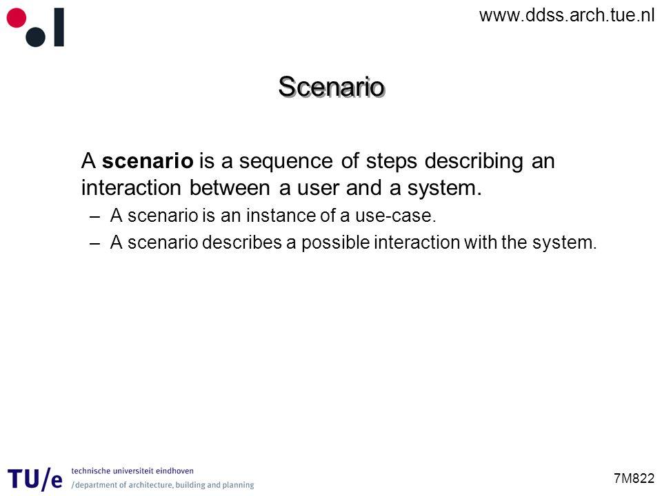Scenario A scenario is a sequence of steps describing an interaction between a user and a system. A scenario is an instance of a use-case.