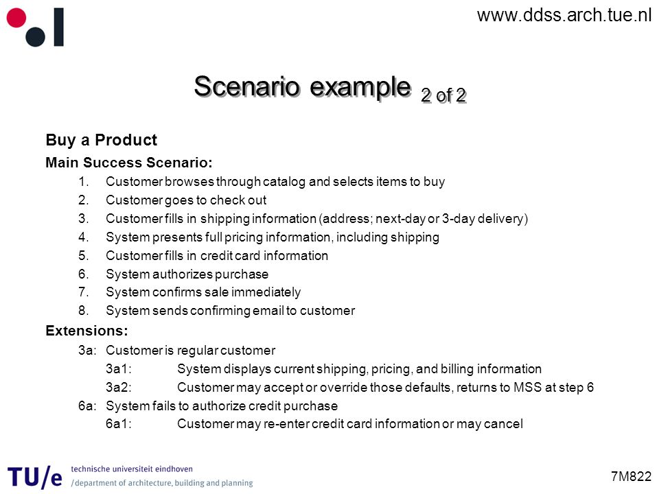 Scenario example 2 of 2 Buy a Product Main Success Scenario:
