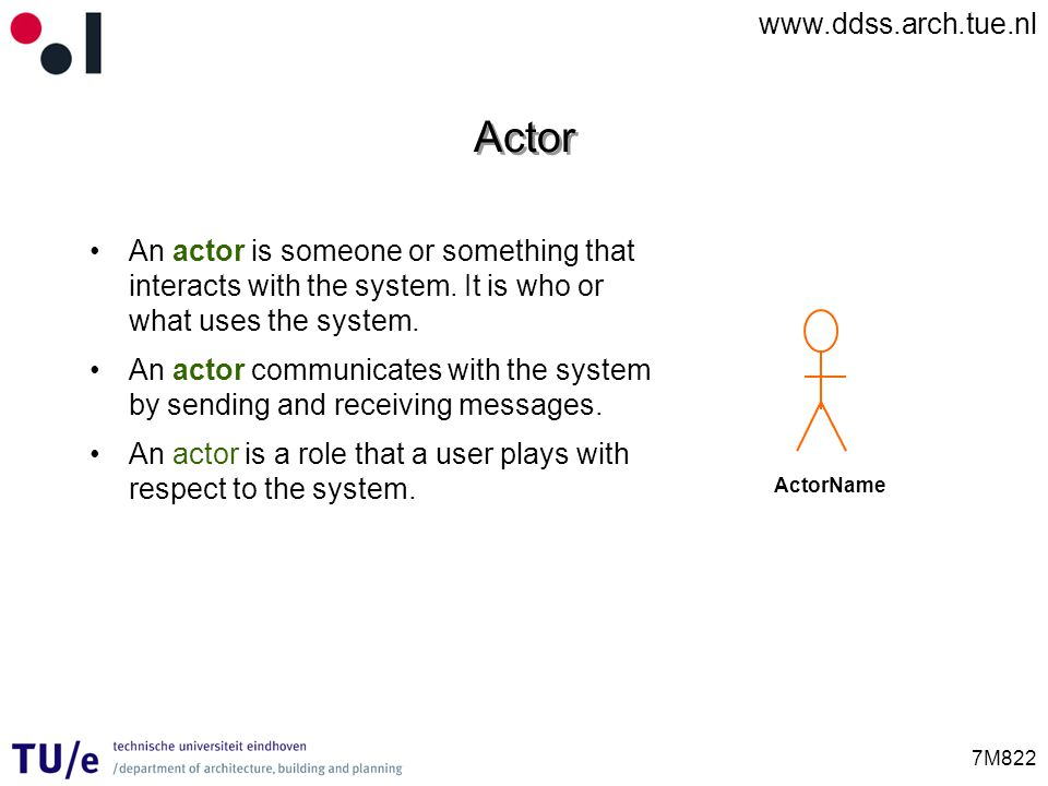 Actor An actor is someone or something that interacts with the system. It is who or what uses the system.