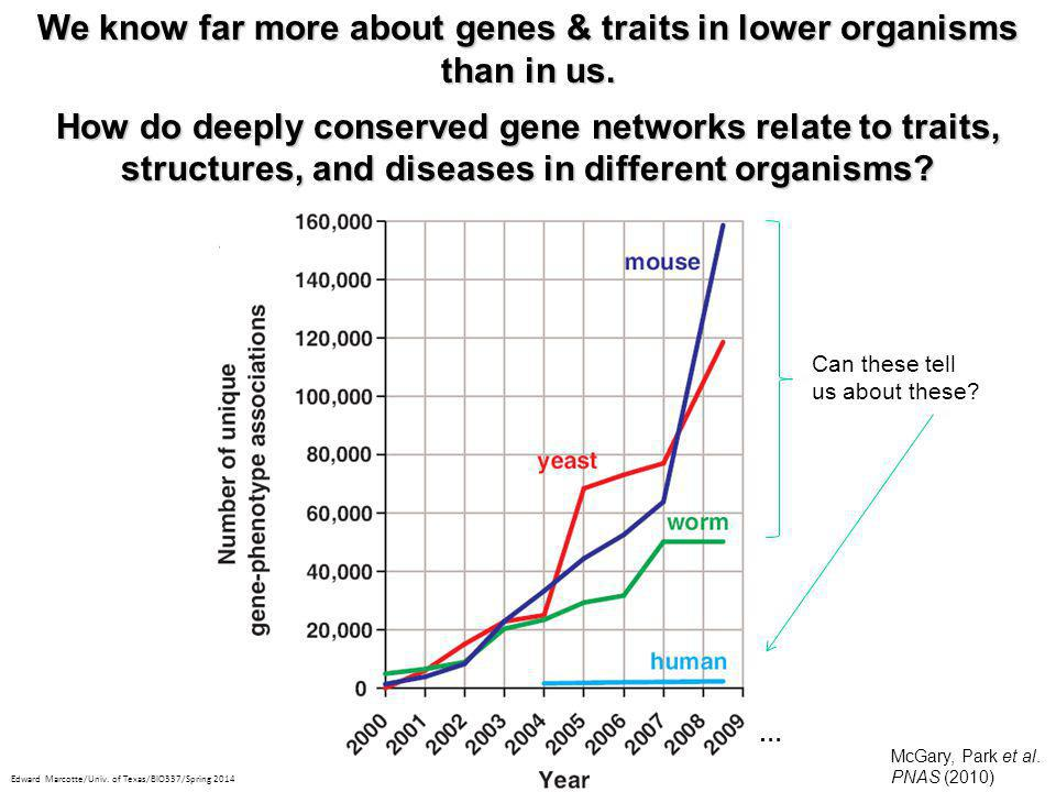 We know far more about genes & traits in lower organisms than in us.