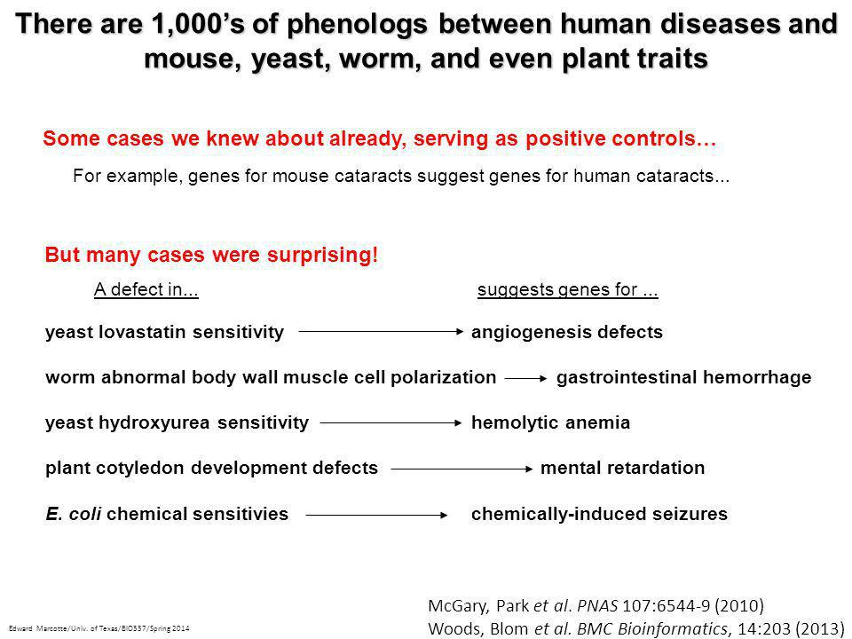 There are 1,000's of phenologs between human diseases and mouse, yeast, worm, and even plant traits