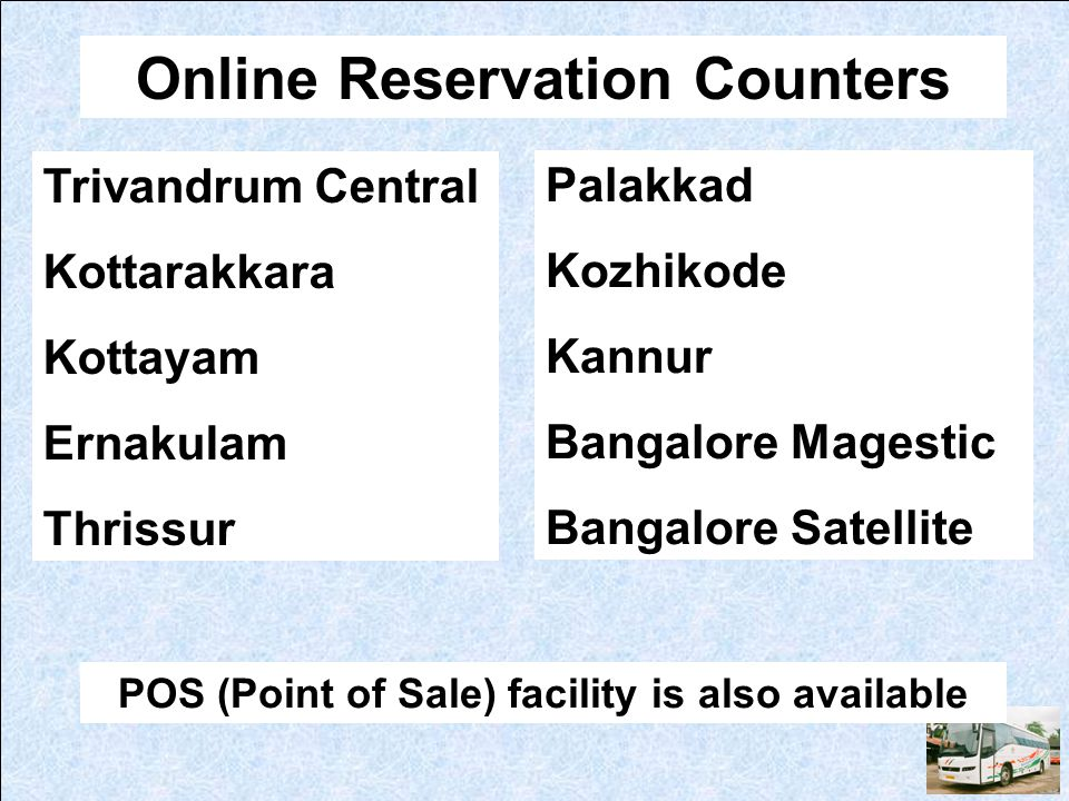 Online Reservation Counters
