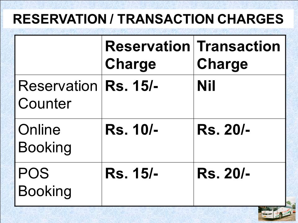RESERVATION / TRANSACTION CHARGES