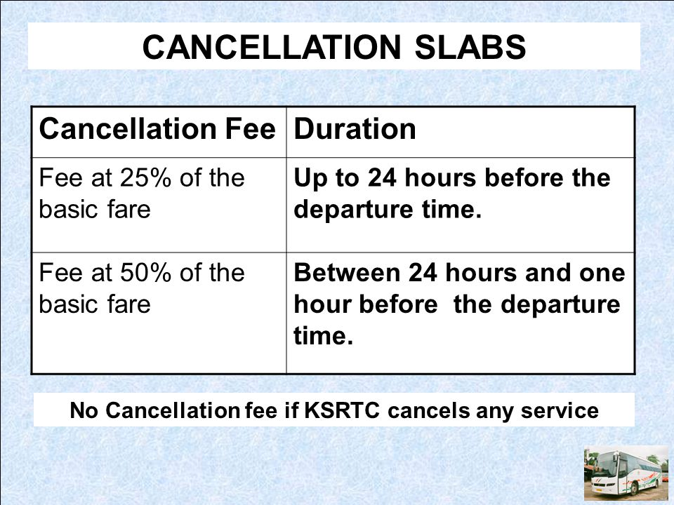 No Cancellation fee if KSRTC cancels any service
