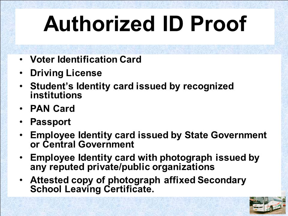 Authorized ID Proof Voter Identification Card Driving License