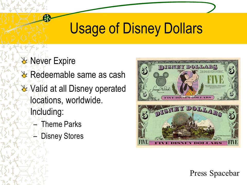 Usage of Disney Dollars