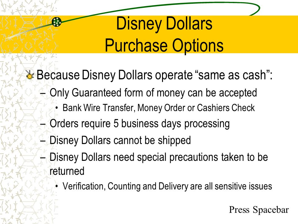 Disney Dollars Purchase Options