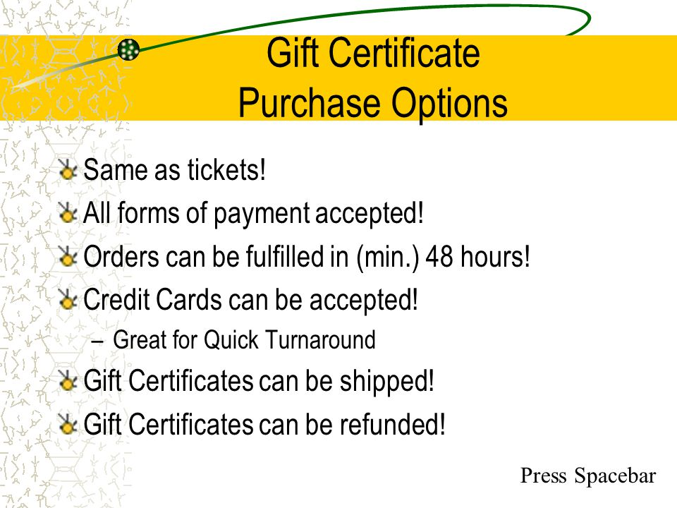 Gift Certificate Purchase Options
