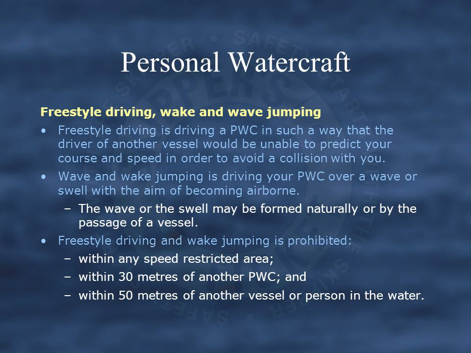 Personal Watercraft Freestyle driving, wake and wave jumping