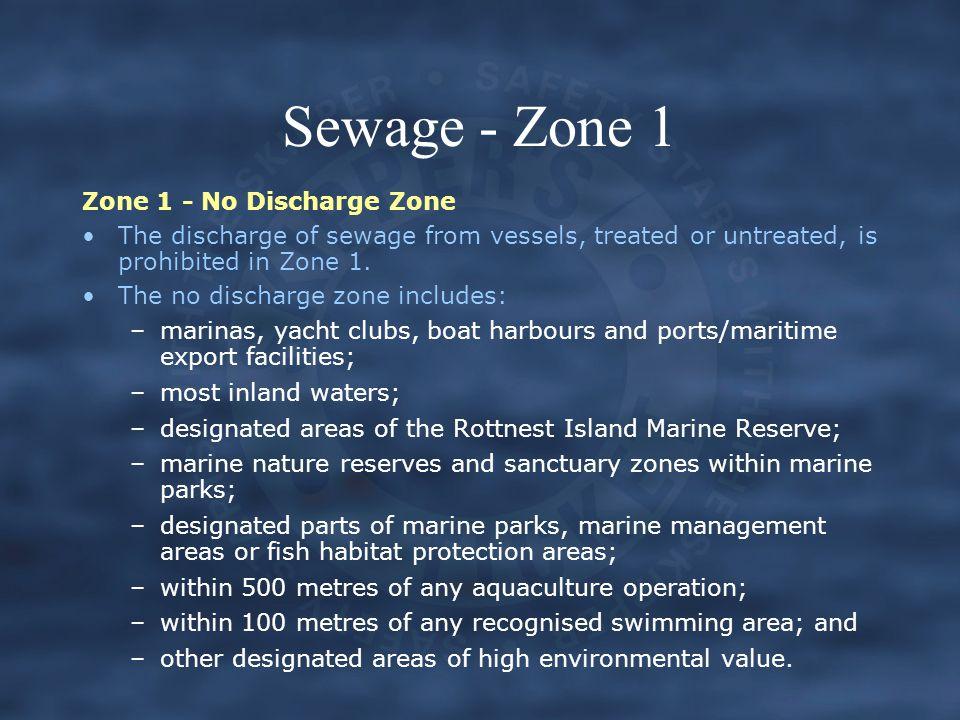 Sewage - Zone 1 Zone 1 - No Discharge Zone