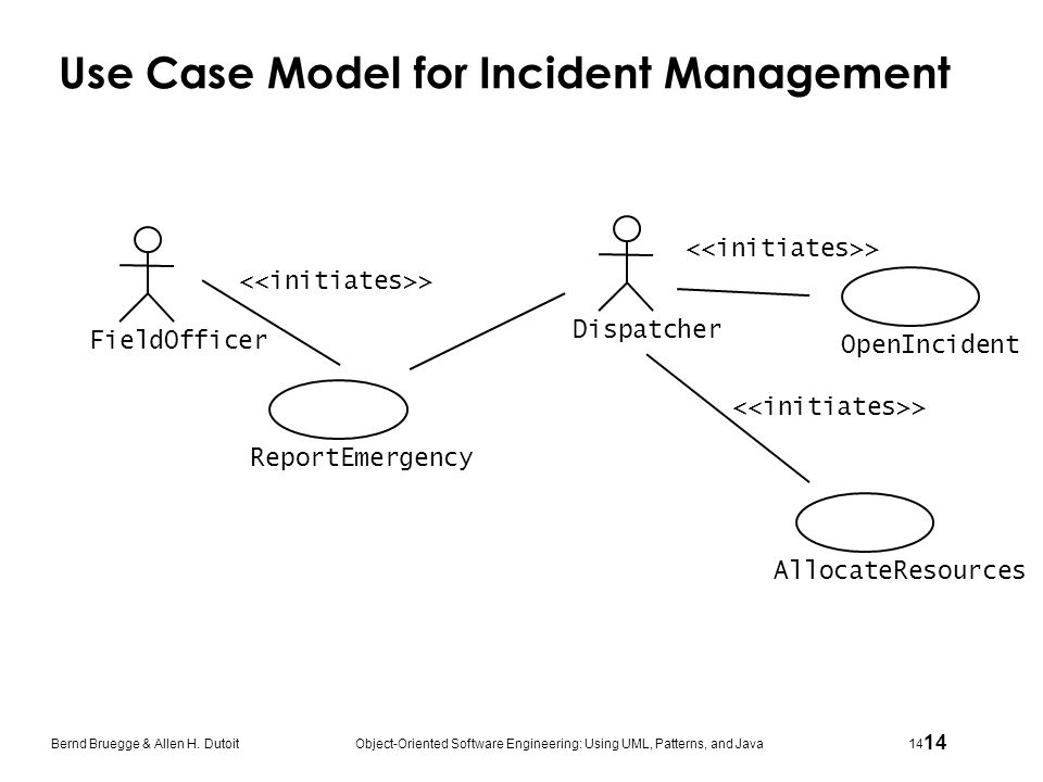 Use Case Model for Incident Management