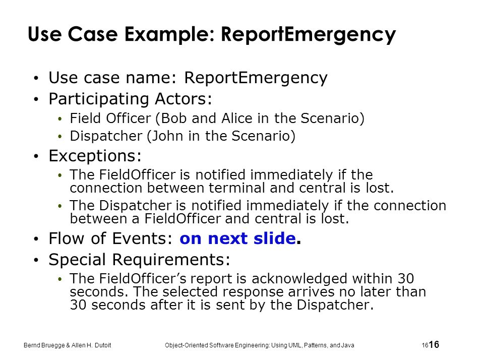 Use Case Example: ReportEmergency