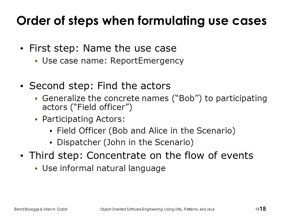 Order of steps when formulating use cases