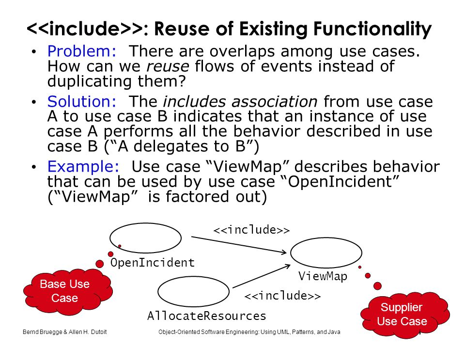 <<include>>: Reuse of Existing Functionality