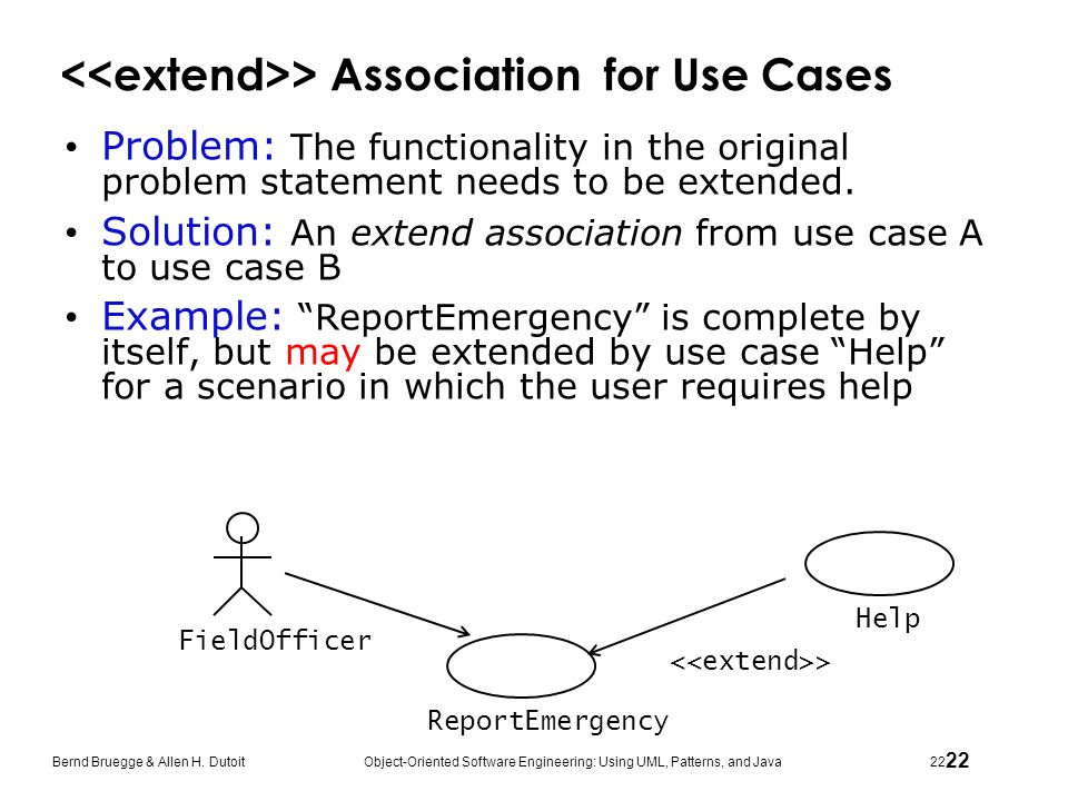 <<extend>> Association for Use Cases