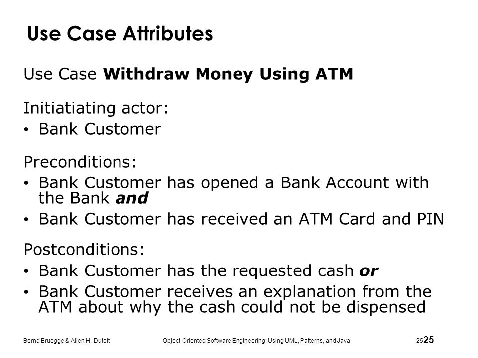 Use Case Attributes Use Case Withdraw Money Using ATM