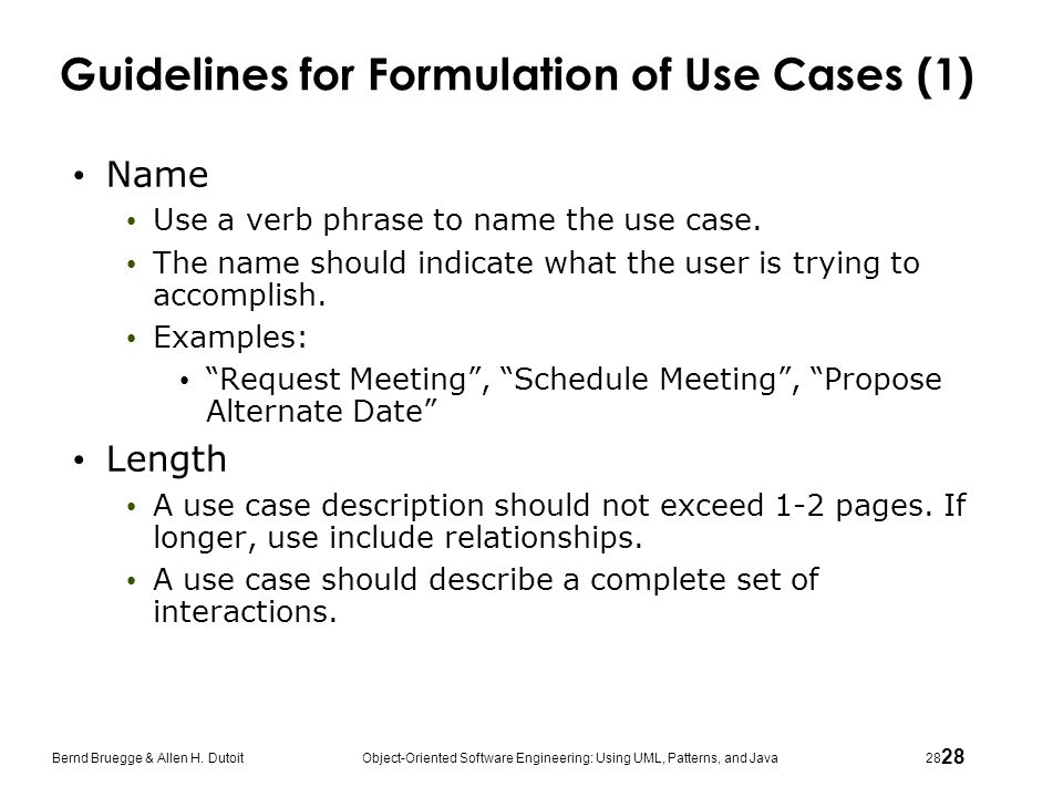 Guidelines for Formulation of Use Cases (1)