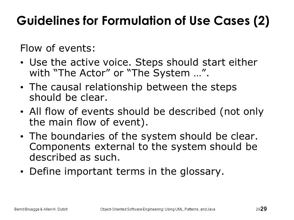 Guidelines for Formulation of Use Cases (2)