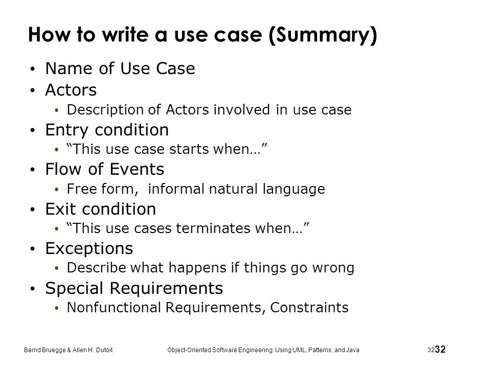 How to write a use case (Summary)