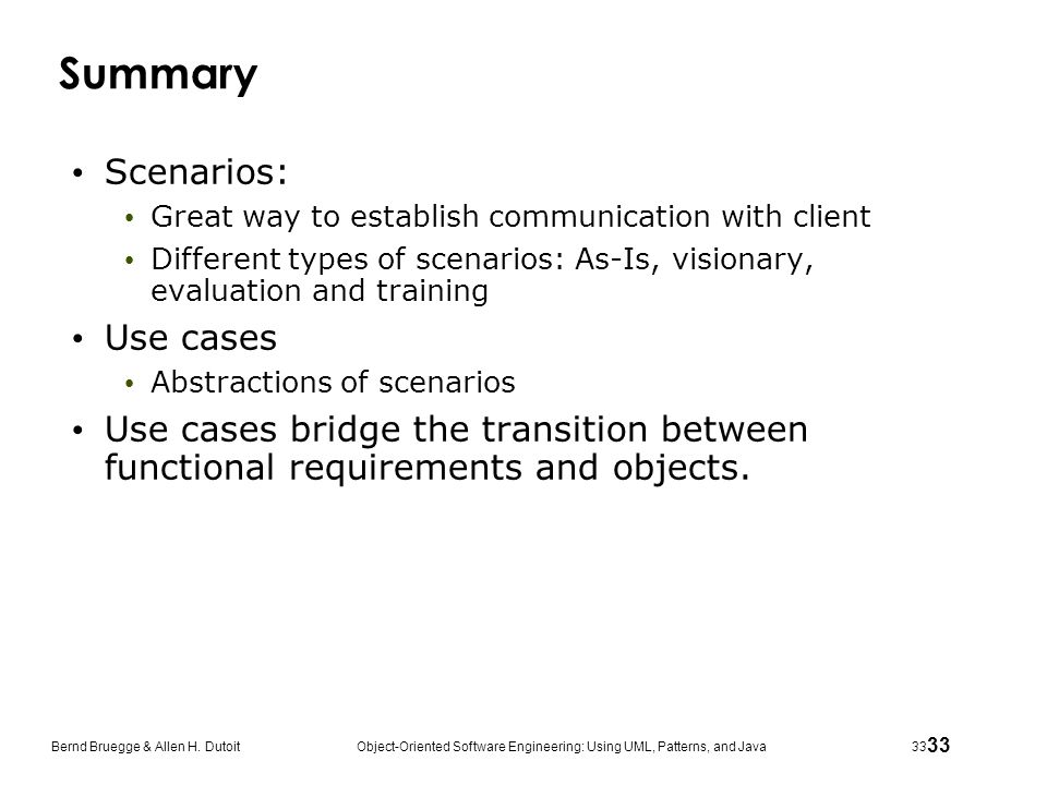 Summary Scenarios: Use cases