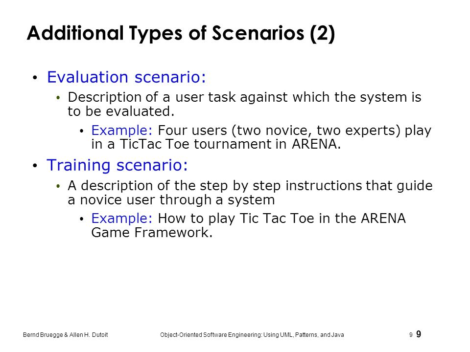 Additional Types of Scenarios (2)