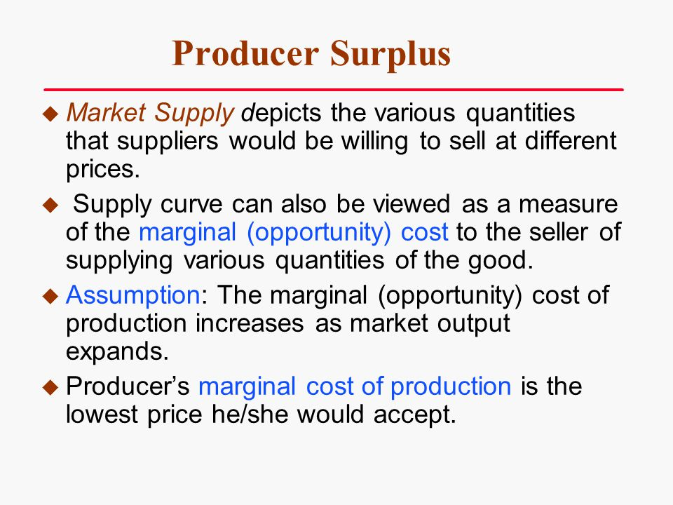 Producer Surplus Market Supply depicts the various quantities that suppliers would be willing to sell at different prices.